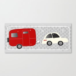 vintage trailer in red Canvas Print