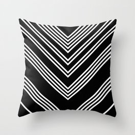Back and White Lines Minimal Pattern No.3 Throw Pillow