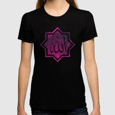 Islamic Chant, in pink & glitch | الله‎ MEDIUM Womens Fitted Tee Black