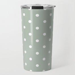 Polka Dots Pattern: Neutral Green Travel Mug