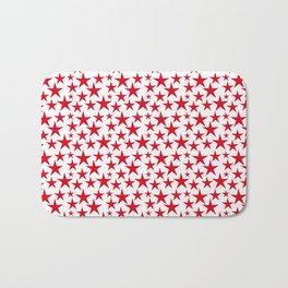 Red stars on white background illustration Bath Mat