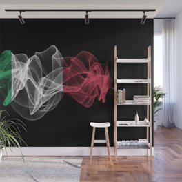 Italy Smoke Flag on Black Background, Italy flag Wall Mural