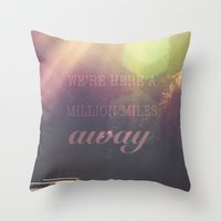 miles davis Throw Pillows featuring Miles away by Nieves Montano