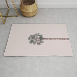 Tropical Palm Tree In Pastel Pink Light Rug