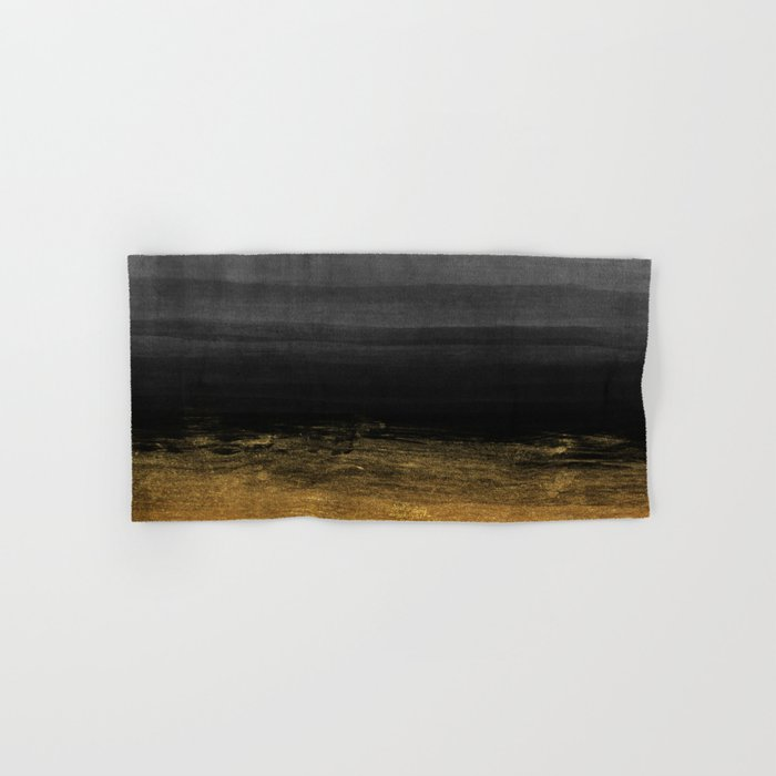 Black and Gold grunge stripes on modern grey concrete abstract background- Stripe-Striped Hand & Bath Towel