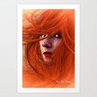 redhead Art Prints featuring redhead by Nuria Mrtz. FotoArt