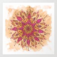 Pink Watercolor Mandala Art Print