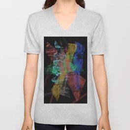 Black abstract designe Unisex V-Neck