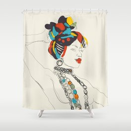 line art woman exotic Shower Curtain