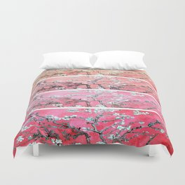 Van Gogh Almond Blossoms Deep Pink to Peach Collage Duvet Cover