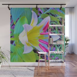 Beautiful White Trumpet Lily with Yellow Center Wall Mural