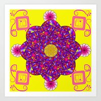 psychadelic Art Prints featuring Psychadelic Flora by Cynthia Squire
