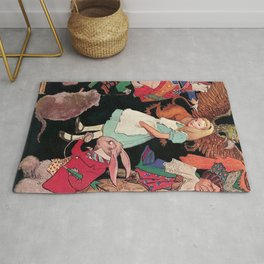 Alice in Wonderland down the Rabbit Hole children's wall decor painting by Jesse Wilcox Smith Rug