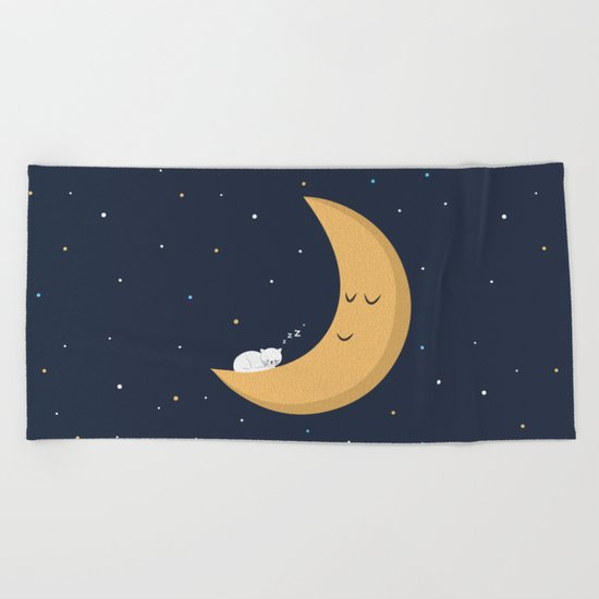 The Cat and the Moon Beach Towel