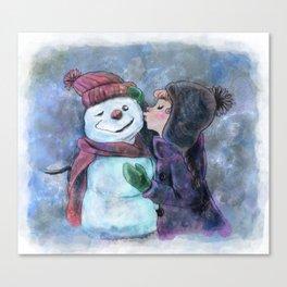 Kiss a snowman Canvas Print