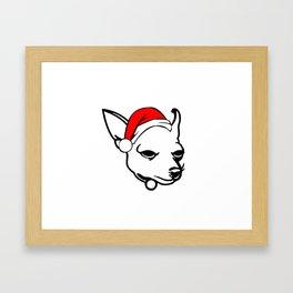 Chihuahua Dog with Christmas Santa Hat Framed Art Print