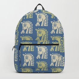 Mid Century Horse Pattern Blue Chartreuse and Beige Backpack