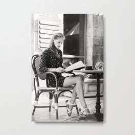 Girl Reading Book In The Morning Metal Print