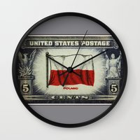 poland Wall Clocks featuring Flag of Poland by lanjee