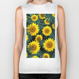 Tropical Sunflower Jungle Night Leaves Pattern #1 #tropical #decor #art #society6 Biker Tank