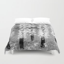 Cherry trees caught in a spring snow shower Duvet Cover