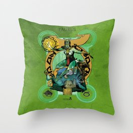 "Ars Tarot of the 12 Zodiac: ""Taurus - The Hierophant"" Throw Pillow"