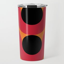 Black Balls on red Elastic Worms in an Orange Background Travel Mug