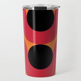 Black Balls on red Elastic Worms in an Orange Background Travel Mug