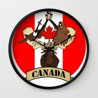 canada Wall Clocks featuring CANADA by scarah