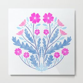 Art Nouveau Illustration / Floral / Circular / Pink Metal Print
