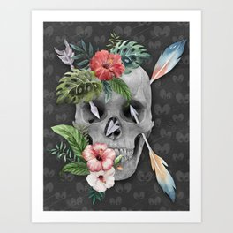 Caribbean Pirate Skull Feather Arrows Tropical Flowers Art Print