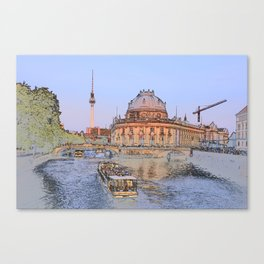 Berlin Spree Bode Museum and Alexander tower Canvas Print