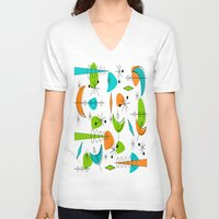 mid century V-neck T-shirts featuring Mid-Century Modern Space Age by Kippygirl