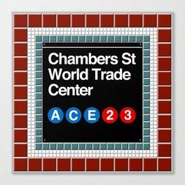 subway world trade center sign Canvas Print