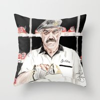 "the big lebowski Throw Pillows featuring The Big Lebowski ""Saddam"" by Gregory Nordquist"