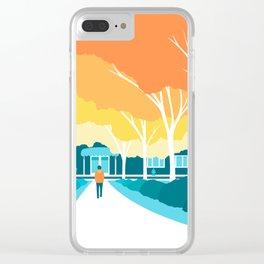 Autumn Stroll Clear iPhone Case