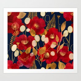 Moody floral camellias and honesty Art Print
