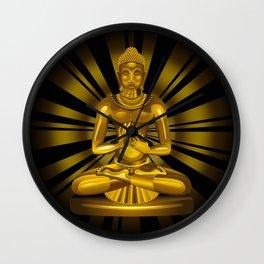 Buddha Siddhartha Gautama Golden Statue Wall Clock