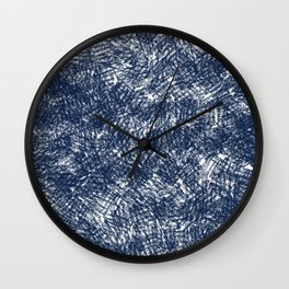 Blue stonewashed scribble texture Wall Clock