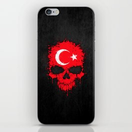 Flag of Turkey on a Chaotic Splatter Skull iPhone Skin