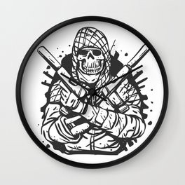 Military skull with guns Wall Clock