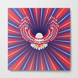 Blue red and white bald eagle Metal Print