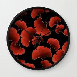 Red ginkgo Wall Clock