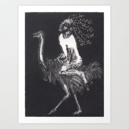 Circus Girl riding Ostrich Art Print