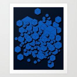 3D Cobalt blue Cubes Art Print