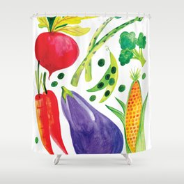 Veg Out - Vegetable, Veggies, Watercolor, Food, Beet, Carrot, Pea Shower Curtain