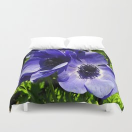 Two Blue Mauve Anemone - Close Up Windflowers  Duvet Cover