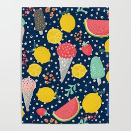 Colorful summer food pattern Poster