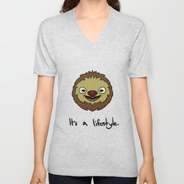 Cute Sloth It's A Lifestyle Funny Sloth Lovers Unisex V-Neck