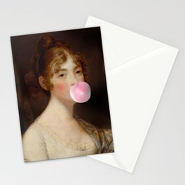 Naughty girl with a bubble gum Stationery Cards